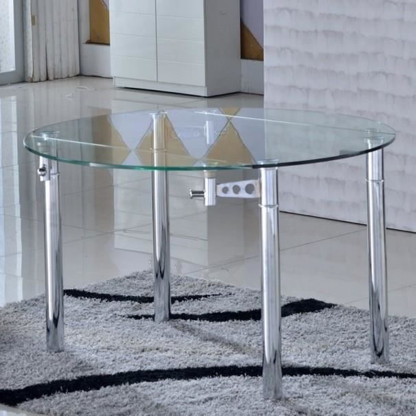 table ronde en verre rallonge extensible hiro achat vente table a manger seule table ronde. Black Bedroom Furniture Sets. Home Design Ideas
