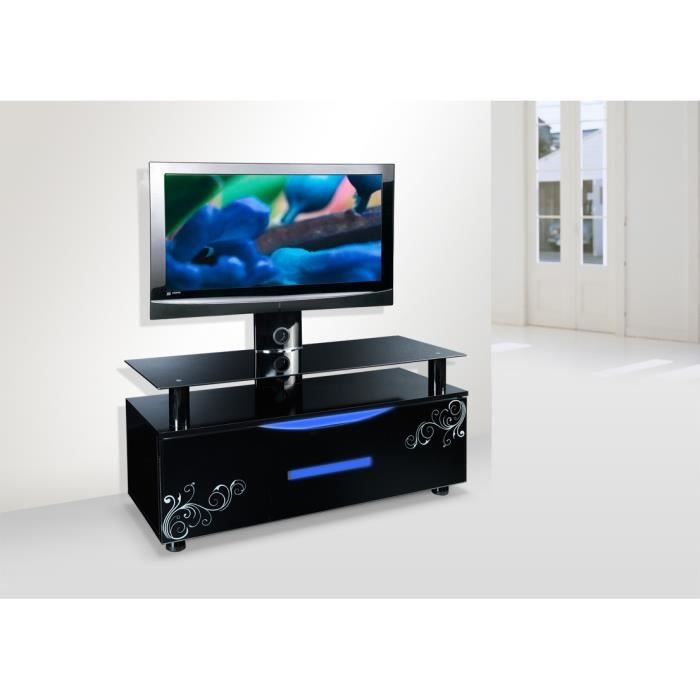 meuble tv design noir led avec support tv pivotant achat vente meuble tv meuble tv design. Black Bedroom Furniture Sets. Home Design Ideas