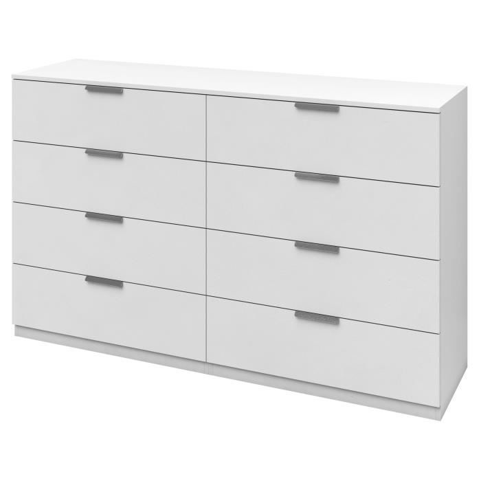 Billund commode 8 tiroirs 160cm blanc achat vente for Commode d angle chambre