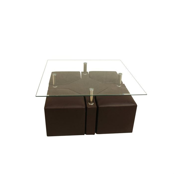 table basse design marron 4 poufs iena achat vente. Black Bedroom Furniture Sets. Home Design Ideas