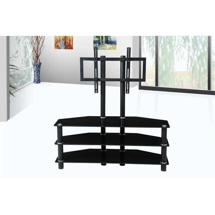meuble tv design noir avec support plasma integre achat vente meuble tv meuble tv design. Black Bedroom Furniture Sets. Home Design Ideas