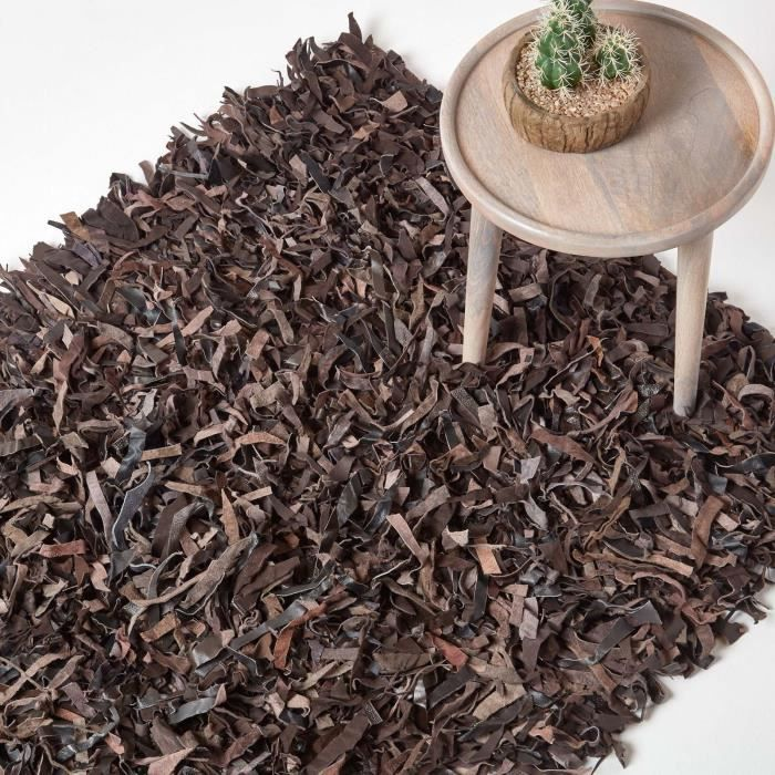 tapis shaggy cuir dallas chocolat 120 x 180 cm achat vente tapis cdiscount. Black Bedroom Furniture Sets. Home Design Ideas