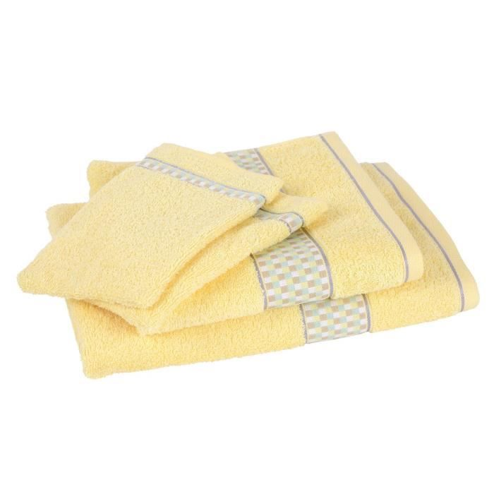 lot de 1 drap de bain 1 serviette 2 gants bauhaus jaune achat vente serviettes de bain. Black Bedroom Furniture Sets. Home Design Ideas