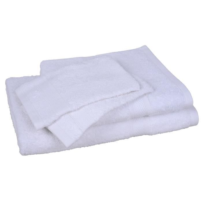 lot de 1 drap de bain 1 serviette 2 gants elegance blanc achat vente serviettes de bain. Black Bedroom Furniture Sets. Home Design Ideas