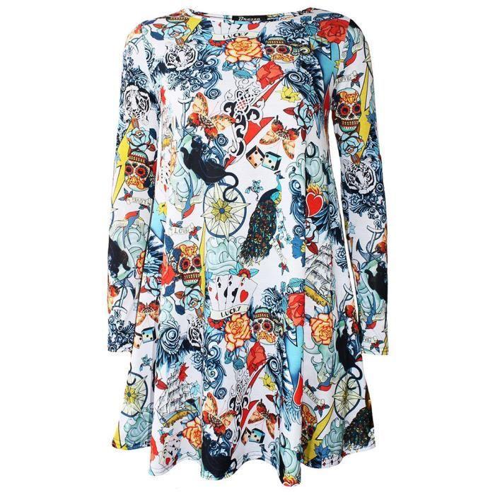 Nouveau Femme Halloween Robe Femmes Imprimé Manches Longues Swing Robe Plus Taille 8-22