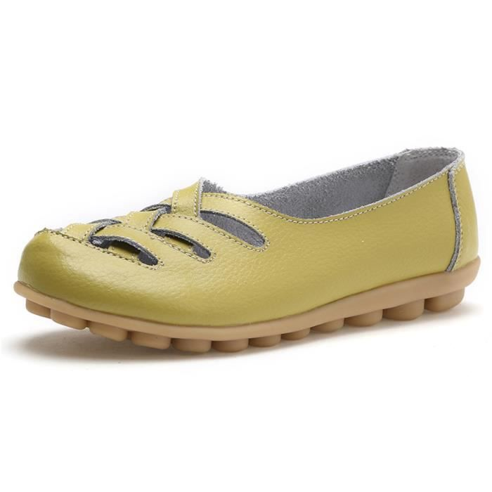 Solide Couleur Casual Mocassins Chaussures Mocassins en cuir WDB48 Taille-37 ISR1XBsjL