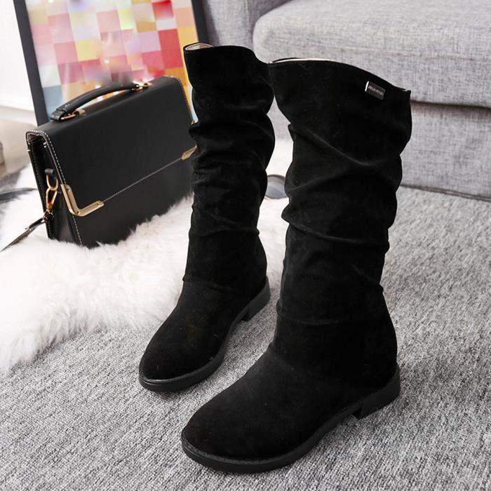 noir Hiver Douce Botte Stylish Flat De Femmes Flock Neige Chaussures Bottes Jeffrey®automne wN0vm8n