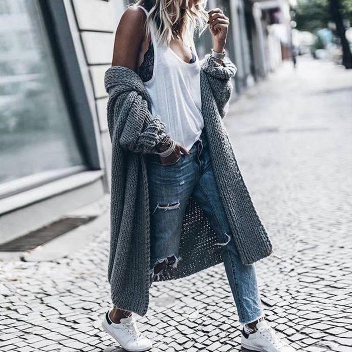 Gilet laine d'hiver en vracGris solide Pull épais Bat Femmes Cardigan Veste Manteaux long manteau en Les N8wO0PkXn