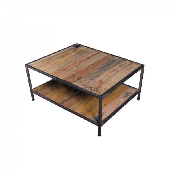 Table basse bois m tal carr e loft achat vente table basse table basse bo - Table basse carree metal ...