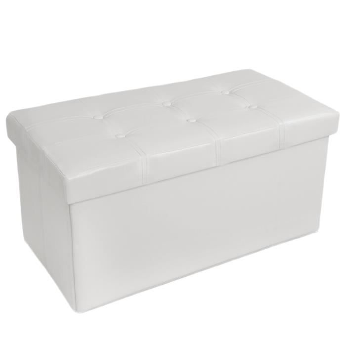 tabouret banc pouf coffre de rangement pliable blanc tectake 80x39x40 cm achat vente. Black Bedroom Furniture Sets. Home Design Ideas