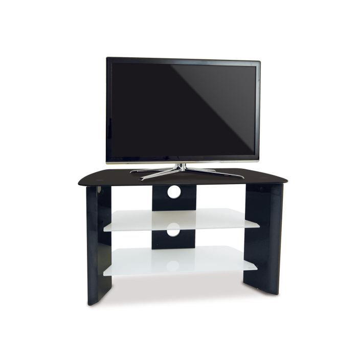 meuble tv moderne noir laqu simao achat vente meuble. Black Bedroom Furniture Sets. Home Design Ideas