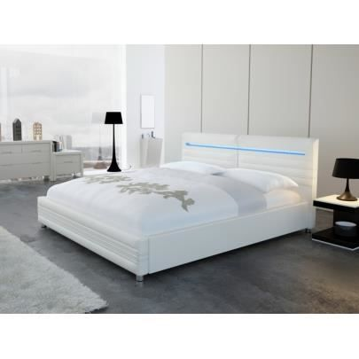 lit reflexion 140x200 cm simili blanc avec led achat vente structure de lit cdiscount. Black Bedroom Furniture Sets. Home Design Ideas