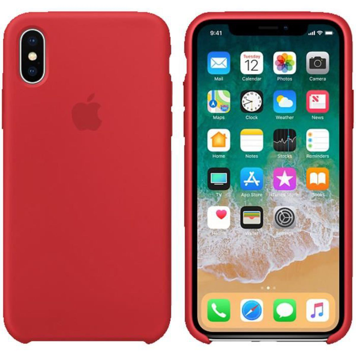 coque en silicone apple iphone x xs rouge
