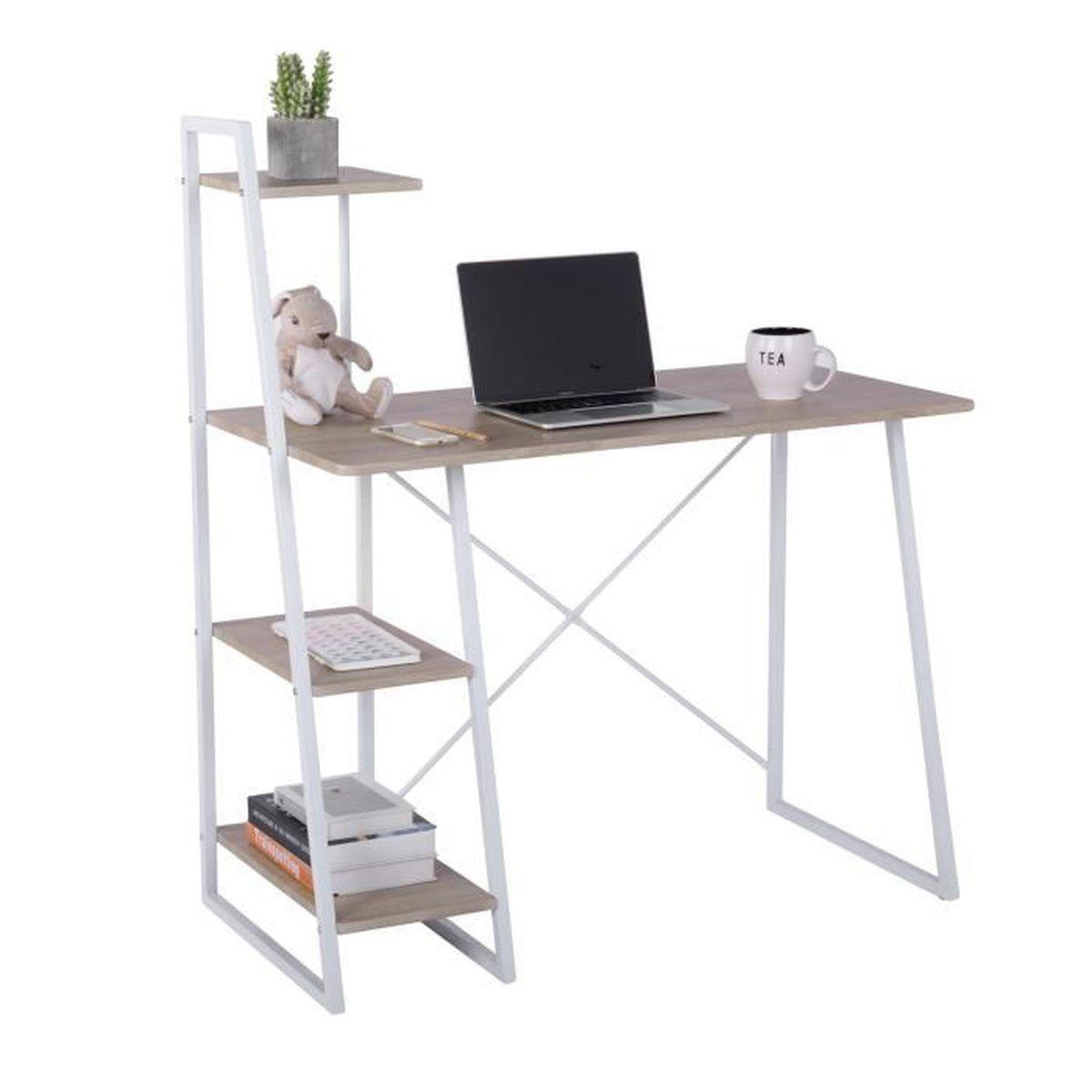 ® Bureau secrétaire poste de travail informatique Blanc 120 x 49 x 72cm en.casa