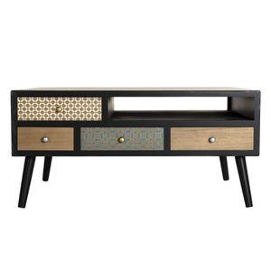TABLE BASSE Table basse 8 tiroirs - Noir - L 90 x l 60 x H 44