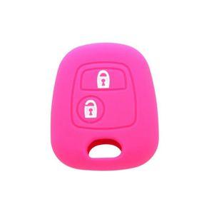 Voiture Clé Silicone Housse de Protection rose pour PEUGEOT CITROËN Télécommande Lumière