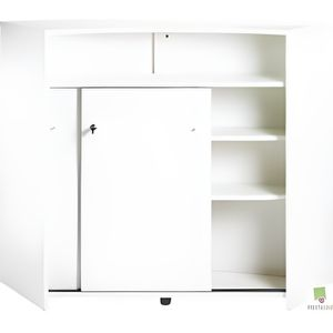 Meuble bar 2 portes blanc achat vente meuble bar for Meuble bar comptoir conforama