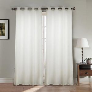 RIDEAU Paire double rideaux 140x260 cm Blanc - Effet lin
