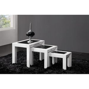 table gigogne design laquee blanche h brillance achat vente table basse table gigogne. Black Bedroom Furniture Sets. Home Design Ideas