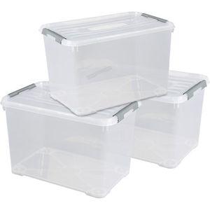 PANIER A LINGE CURVER Lot de 3 handy box - 65L - EPACK - Transpar