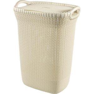 PANIER A LINGE CURVER Coffre à linge 57 L - Aspect tricot - Blanc