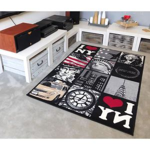 TAPIS Tapis salon PATCHWORK NEW YORK noir DEBONSOL - 120