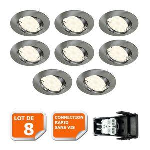 SPOTS - LIGNE DE SPOTS LOT DE 8 SPOT LED ENCASTRABLE ORIENTABLE ALU BROSS