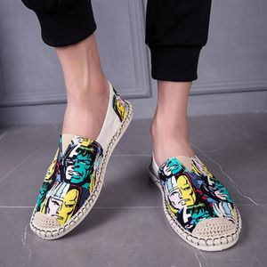 CHAUSSURES BATEAU Men Chinese Style One-Legged Graffiti Canvas Shoes