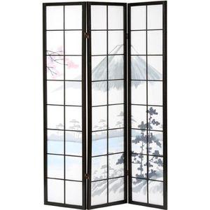 PARAVENT Paravent bois noir Fuji 3 pans, 132 x 176 x 2cm