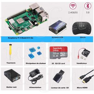 CARTE MÈRE Raspberry Pi 4 Modèle B 4Go Starter Kit,3.5inch LC