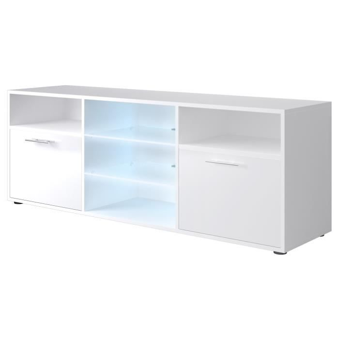 Kora meuble tv contemporain blanc brillant l 150 cm for Meuble 50 cm hauteur