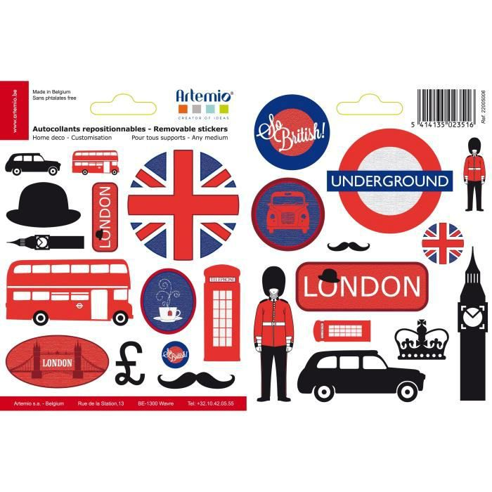 artemio 25 stickers repositionnables londres achat vente sticker scrapbooking artemio 25. Black Bedroom Furniture Sets. Home Design Ideas