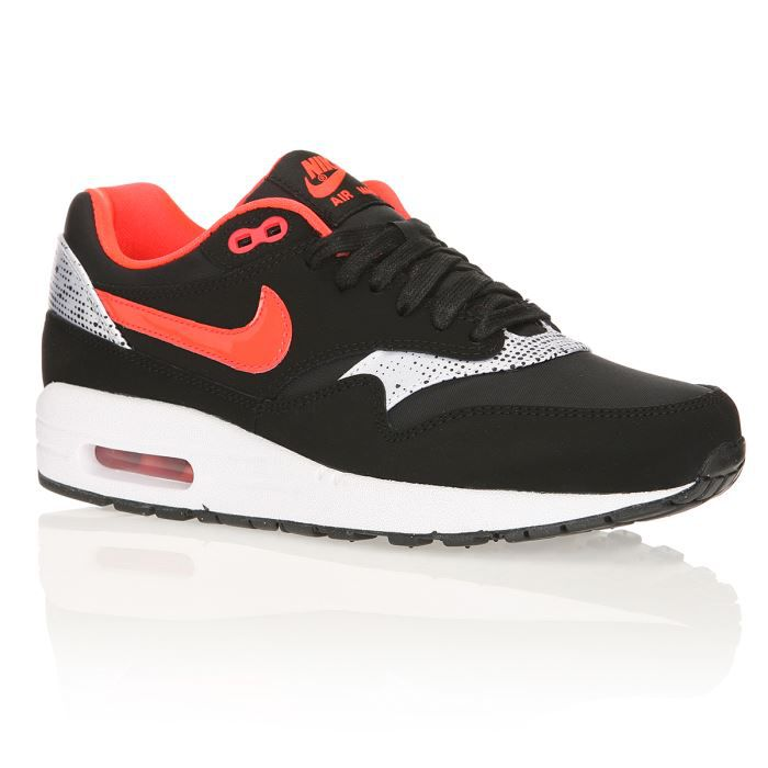nike baskets air max 1 essential femme femme noir rouge argent achat vente nike baskets. Black Bedroom Furniture Sets. Home Design Ideas