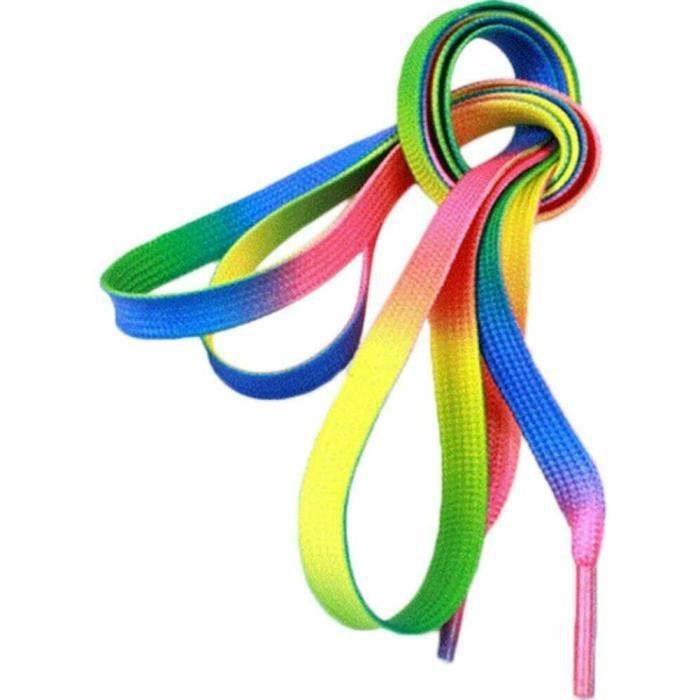 lacets arc en ciel fun original chaussures basket tennis roller rainbow qualité