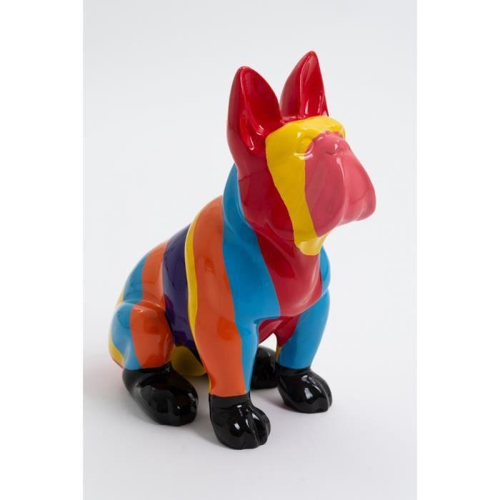 Statue chien bouledogue français assis taille S design multicolore - VICHY - 40cm -