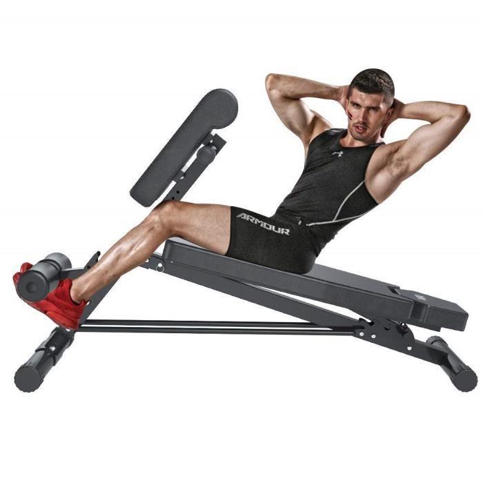 Banc de Musculation Chaise Romaine Multifonctionnelle Chaise Réglable à 5 Vitesses avec Roulement Triangle pour Bureau à Domicile