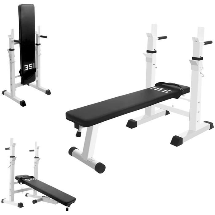 ISE Banc de Musculation Multifonction Abdominaux Pliable avec Support de Barres pour Haltère et Station à Dips