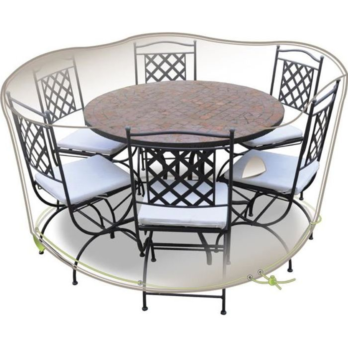 Housse table ronde + chaises - 6 personnes - gris mastic