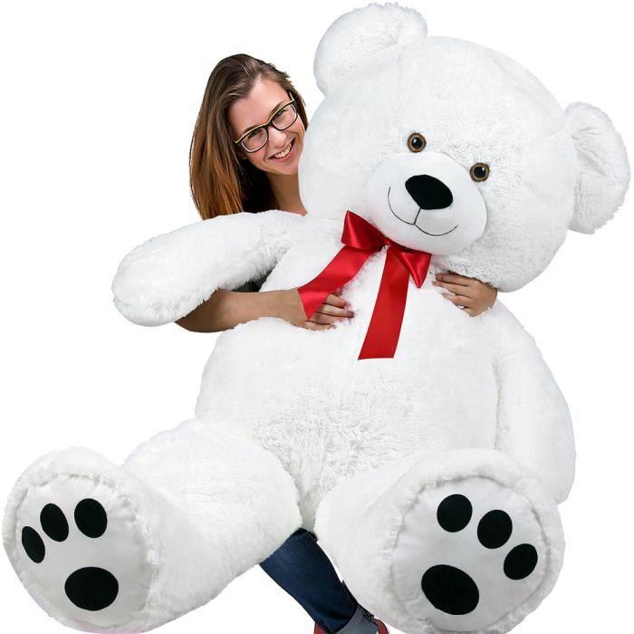 DEUBA- Grand nounours géant XXL Teddy Bear - Ours en peluche blanc - Enfants/adultes