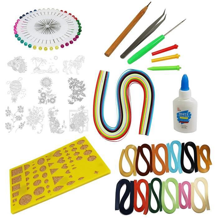 Kit de quilling complet : 12 couleurs de papier avec outils et pochoirs