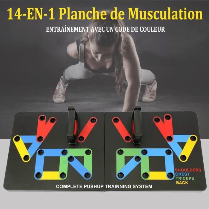 Planche à Pompes 14-en-1, Planche de Musculation avec Poignées de Pompes pour Fitness à La Maison Noir