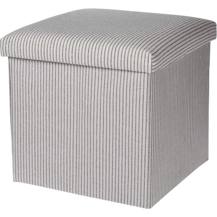 Koop Homewares Pouf Ottoman Cube Rangement Boite & Siège Jusqu'À 150kg Blanc Rayure Gris & Noir (Blanc)