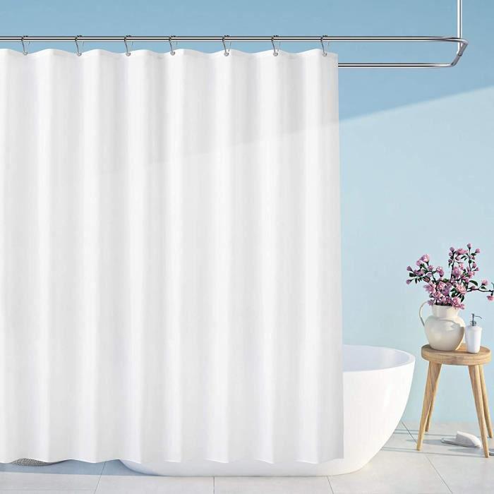 RIDEAU DE DOUCHE Carttiya Rideau de Douche, Rideaux de Douche Blanc en Tissu Impermeable et Anti-moisissure, Lavable en Machine,223