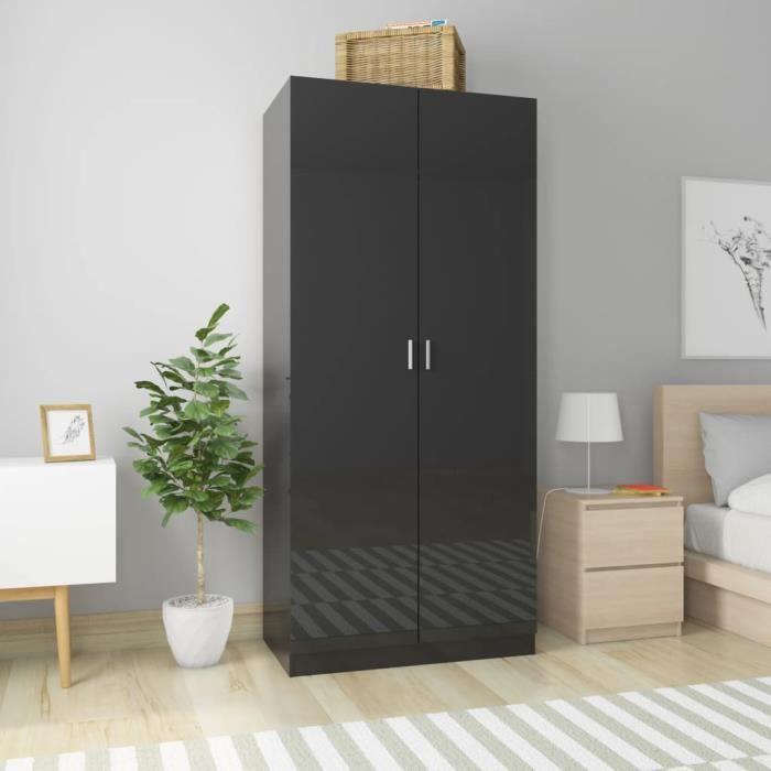 Style Industriel Loft - Garde-robe Noir brillant 90x52x200 cm Aggloméré Armoire de chambre Armoire penderie Contemporain 45694