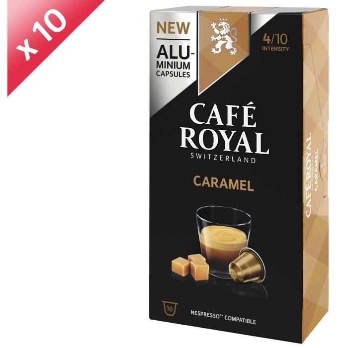 [LOT DE 10] CAFE ROYAL Café Aromatisé Caramel - Compatible Nespresso aluminium - 10 capsules