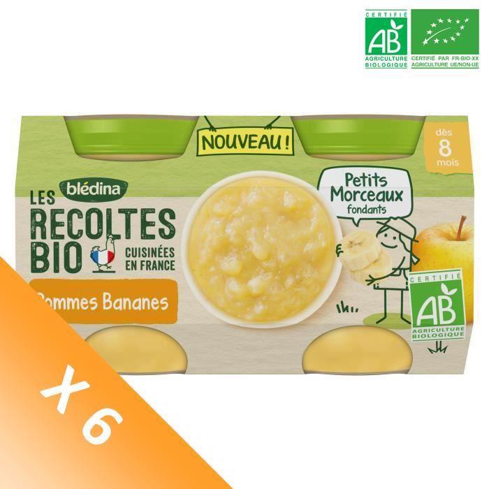 Blédina Les Récoltes Bio, Petits pots pour bébé bio - Dès 8 mois - Pommes Bananes Petits Morceaux - Lot de 6 x 260 g