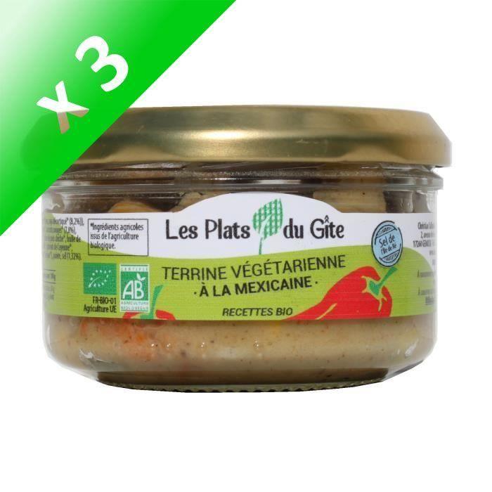 [LOT DE 3] LES PLATS DU GITE Terrine Végétarienne à la Mexicaine - Bio - Végan - 120 g