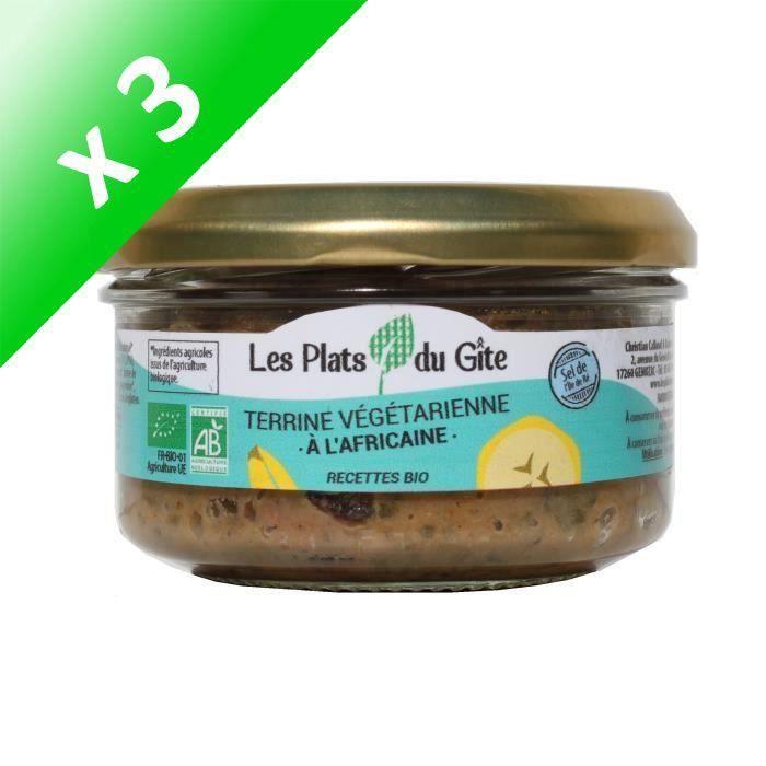 [LOT DE 3] LES PLATS DU GITE Terrine Végétarienne à l'Africaine - Bio - Végan - 120 g