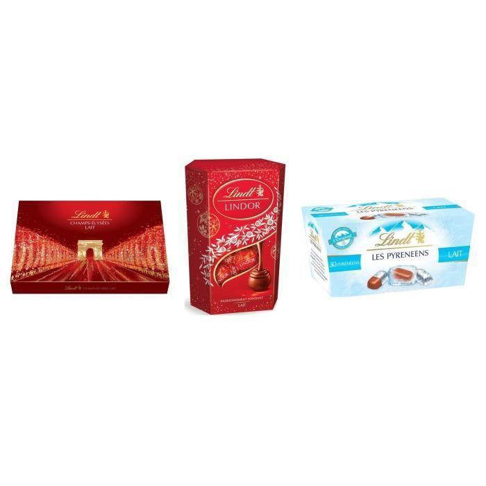 Lot de 3 - 1 LINDT Boîte de chocolat au Lait Champs-Élysées + 1 Cornet Lait Lindor + 1 Les Pyrénéens Ballotin Chocolat au Lait