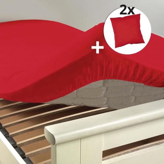 Ensemble drap housse 180 x 200 cm + 2 taies d'oreiller 63 x 63 100% coton 57 fils couleur Coquelicot